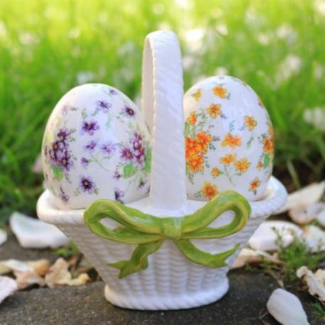 Porcelánová soľnička a korenička v košíku
