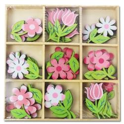 54-dielna sada drevených kvetov
