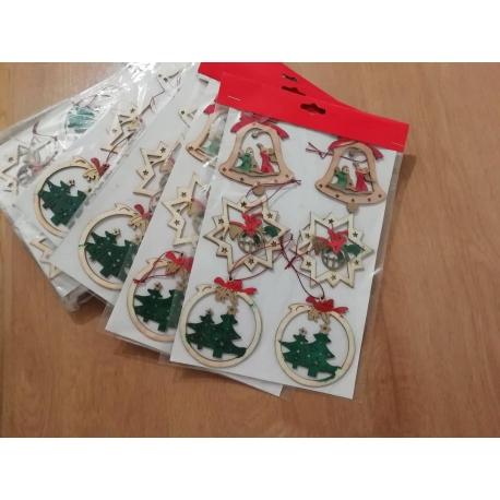 Vianočné drevené ozdoby - 6 ks