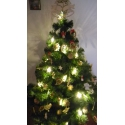 Vianočná svetelná reťaz s drevenými ozdobami